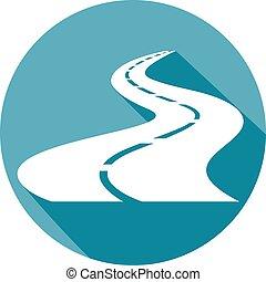 winding road flat icon (highway)