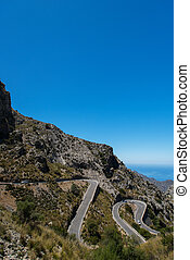 Winding road in mountain in Mallorca