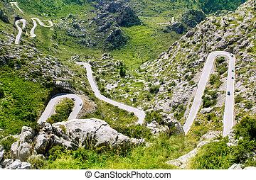Winding road in mountain near Sacalobra in Mallorca...