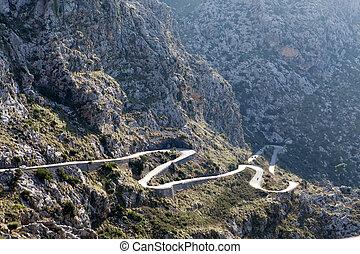 Winding road in mountain Tramuntana near Sa Calobra in...