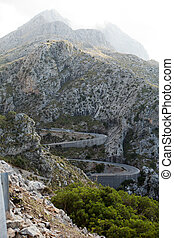 Winding road in mountain Tramuntana near Sa Calobra in Mallorca, Spain