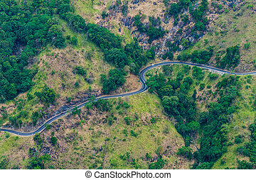 Winding road in mountains near Ella, Sri Lan
