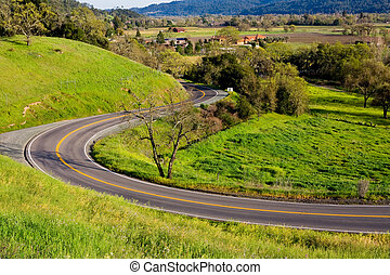 Winding road in Napa Valley