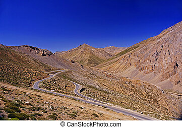 Winding Road in the High-Altitude Mountain Region of Ladakh, in the Himalayas