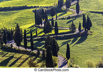 Winding road in Tuscany in Italy