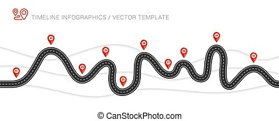 Winding Road Isolated Transparent Special Effect. Road way location infographic template