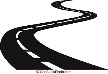 Winding road. Journey traffic curved highway. Road to horizon in perspective.