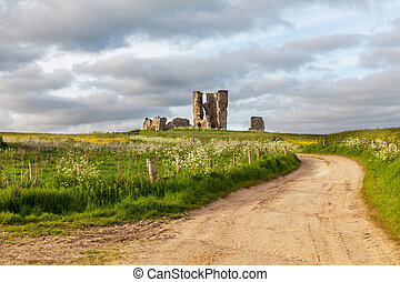 Winding road leading to a chirch ruin in Norfolk