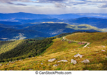 winding road on a hillside near the forest - winding country...