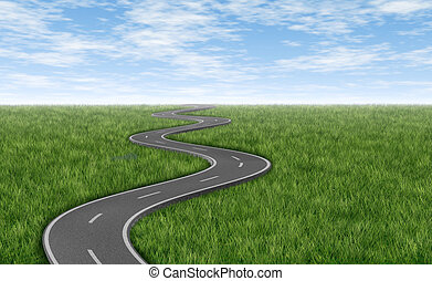 Curved winding asphalt road on a green grass horizon with a blue sky represented by a single highway on white background representing a clear focused strategic trip to a planned destination and journey.