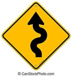 Winding Road Sign - Classic yellow traffic sign with black...