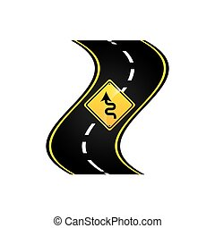 winding road sign concept graphic