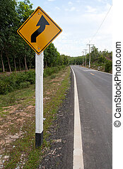 Winding Road Sign in Thailand