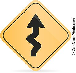 Winding Road Sign on a white background with shadow