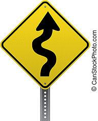 Winding road sign - Winding road warning sign. Diamond-...