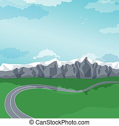 Winding road through a mountain landscape. Vector