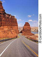 Winding road through Glen canyon recreation area