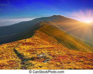winding road through meadows of  mountain range at sunset