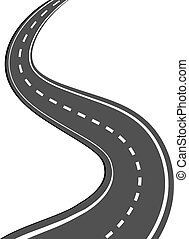 Winding asphalt road with markings leading into the distance on a white background. Vector illustration