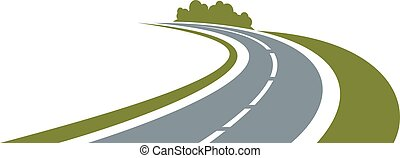Winding road with green roadside - Winding paved road icon ...
