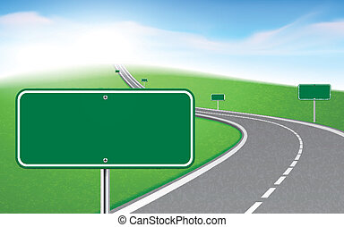 winding road with several blank road signs