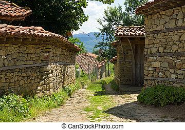 Winding rural street in the Balkans