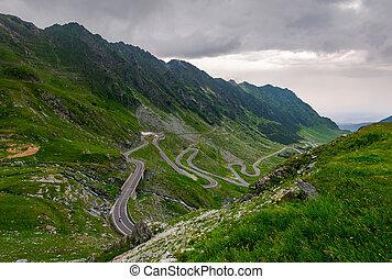 winding serpentine of the TransFagarasan road. beautiful...