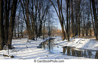 Winding Winter Stream - Colourful morning blue stream after...
