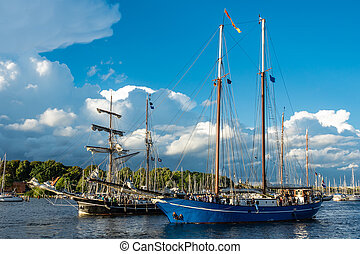 Windjammer on the Hanse Sail in Rostock, Germany
