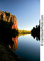 windjana gorge in Western Australia along the gibb river ...