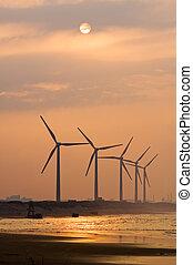 windkraft, unter, sonnenuntergang