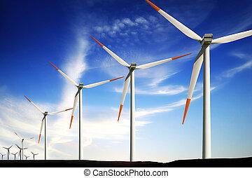 windkraftwerke, bauernhof, alternative energie