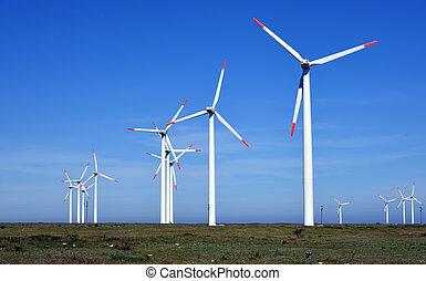 windkraftwerke, bauernhof, -, alternative energiequellen