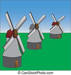 windmühle, alt gestaltet