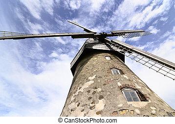 windmühle, auf, a, hügel