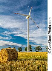 windmühle, auf, der, feld, als, a, symbol, von, grün, energie