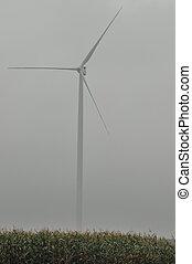 windmühle, auf, der, field., produktion, von, energie, von, wind., erneuerbar, resources., neu , technologien, und, design.