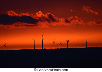 windmühle, früh, sonnenaufgang