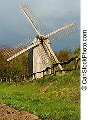 windmühle, hölzern, altes , zaun