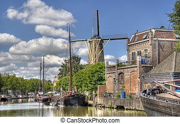 windmühle, in, gouda, netherlands