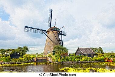 windmühle, in, kinderdijk, netherlands