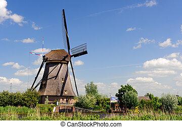 windmühle, landschaftsbild, an, kinderdijk, der, niederlande