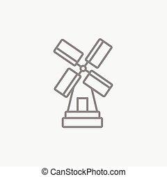 windmühle, linie, icon.
