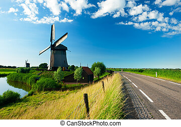 windmühle, netherlands, landschaftsbild