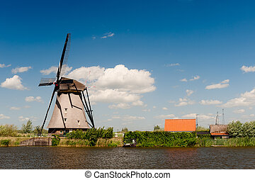 windmühle, niederlande, kinderdijk, landschaftsbild
