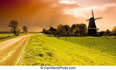 windmühle, sonnenuntergang, landschaftsbild