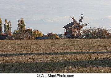 windmühle, trocken, vordergrund., feld, hölzern, land, himmelsgewölbe, herbstlich, bäume, hintergrund., scenery., field., gras