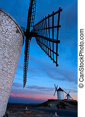 windmühlen, bekommen, dunkel