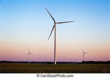 windmühlen, in, der, sonnenuntergang, licht, von, ungarn