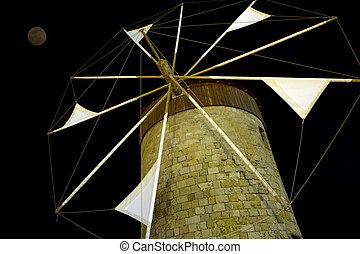 Windmil at night, Rhodes, Greece
